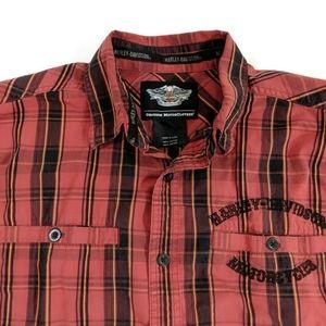 Harley-Davidson Short Sleeve Plaid Shirt Size M